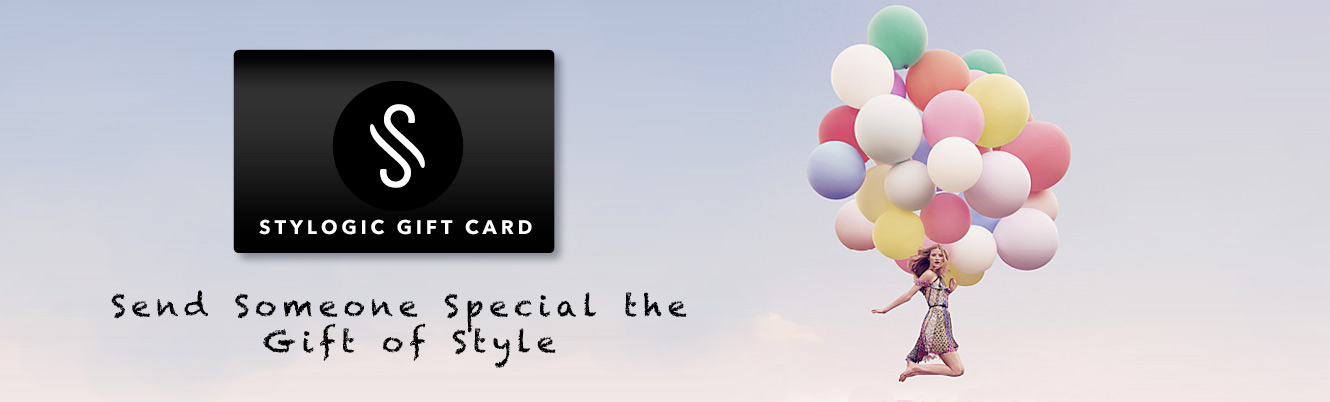 Woman with ballons and Stylogic gift card. Send Someone Special the Gift of Style