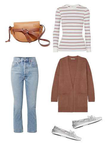 Casual Look: striped knit top, light washed jeans, long-line cardigan, flat silver loafers, tan leather shoulder bag