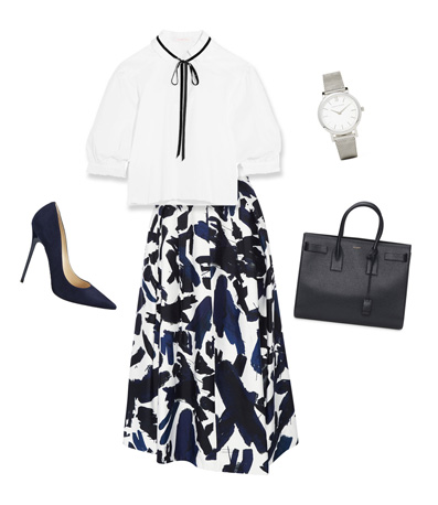 white contrast tie blouse, floral skirt, tote bag, watch, stilettos