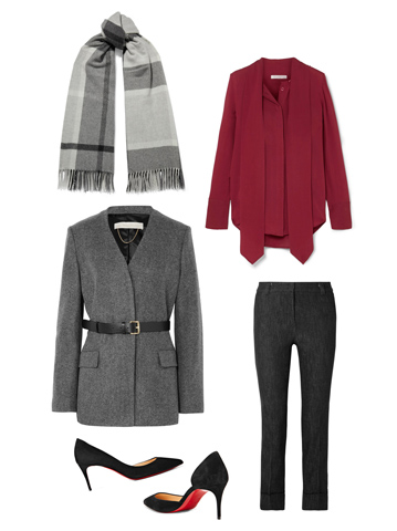 Office Look: dark grey belted blazer, grey plaid scarf, wine color long sleeve blouse, straight leg black trousers, pointy toe black stilettos with red sole